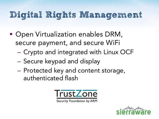 Digital Rights Management  Open Virtualization enables DRM, secure payment, and secure WiFi – Crypto and integrated with ...