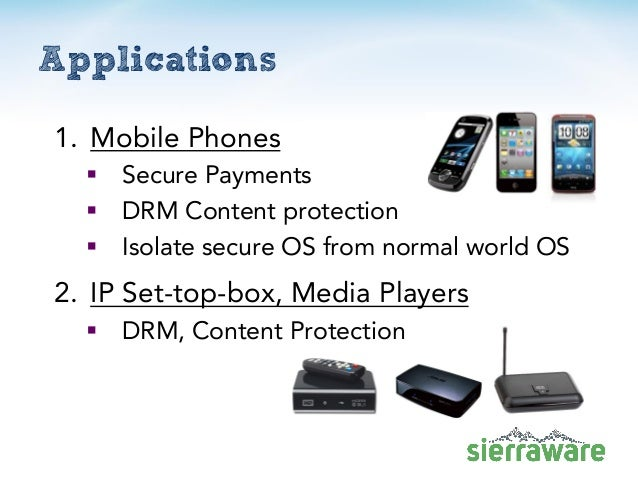 Applications 1. Mobile Phones  Secure Payments  DRM Content protection  Isolate secure OS from normal world OS 2. IP Se...