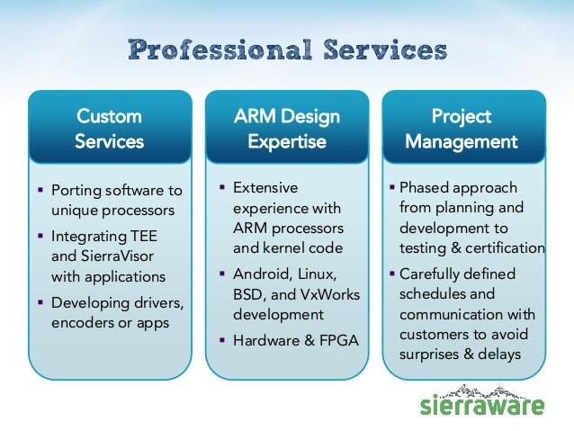Professional Services  Porting software to unique processors  Integrating TEE and SierraVisor with applications  Develo...