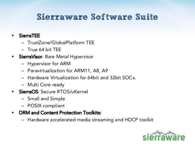 Sierraware Software Suite  SierraTEE – TrustZone/GlobalPlatform TEE – True 64 bit TEE  SierraVisor: Bare Metal Hyperviso...