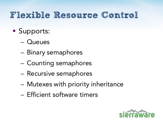 Flexible Resource Control  Supports: – Queues – Binary semaphores – Counting semaphores – Recursive semaphores – Mutexes ...