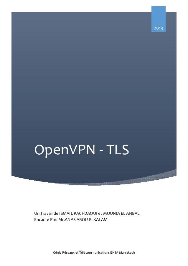 2013  OpenVPN - TLS  Un Travail de ISMAIL RACHDAOUI et MOUNIA EL ANBAL Encadré Par: Mr.ANAS ABOU ELKALAM  Génie Réseaux et...