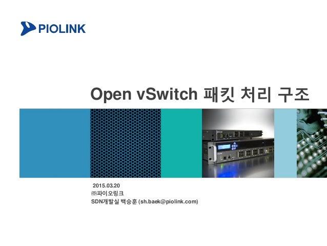 Open vSwitch 패킷 처리 구조 2015.03.20 ㈜파이오링크 SDN개발실 백승훈 (sh.baek@piolink.com)