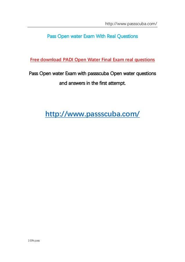 passscuba offer real Open water exam questions