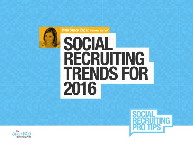 SOCIAL RECRUITING TRENDSFOR 2016 With Stacy Zapar, Founder, Tenfold