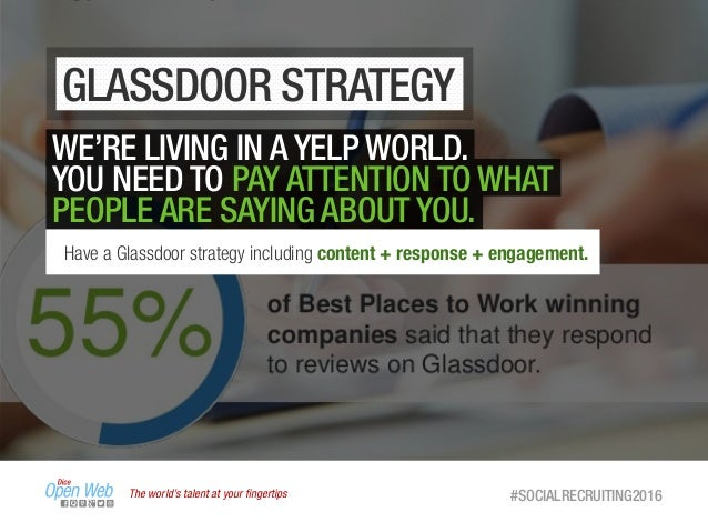 GLASSDOOR STRATEGY The world's talent at your fingertips #SOCIALRECRUITING2016 WE'RE LIVING IN A YELP WORLD. YOU NEED TO PA...