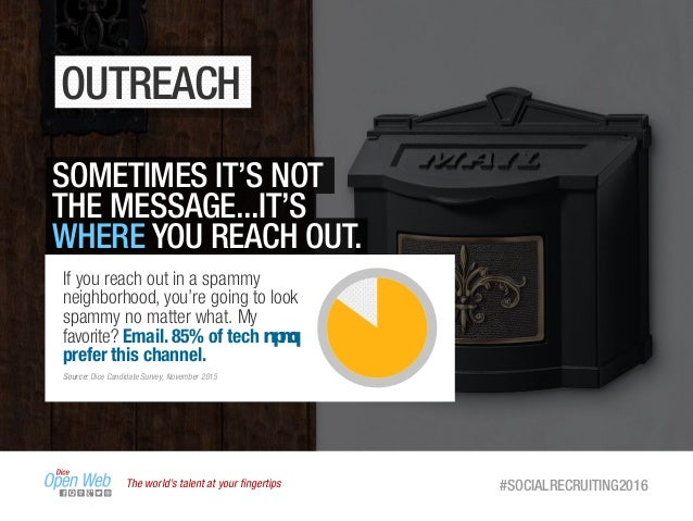 The world's talent at your fingertips #SOCIALRECRUITING2016 OUTREACH SOMETIMES IT'S NOT THE MESSAGE...IT'S WHERE YOU REACH ...