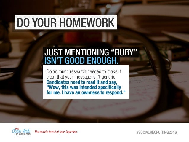 """The world's talent at your fingertips #SOCIALRECRUITING2016 DO YOUR HOMEWORK JUST MENTIONING """"RUBY"""" ISN'T GOOD ENOUGH. Do a..."""