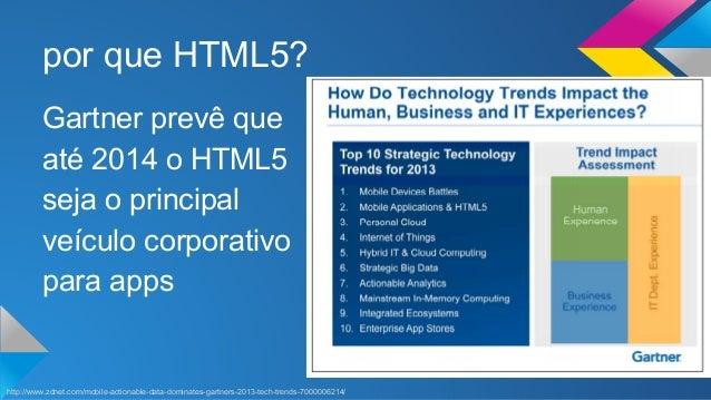 por que HTML5?  Gartner prevê que  até 2014 o HTML5  seja o principal  veículo corporativo  para apps  http://www.zdnet.co...