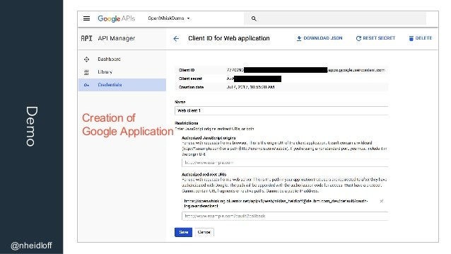 Demo @nheidloff Creation of Google Application