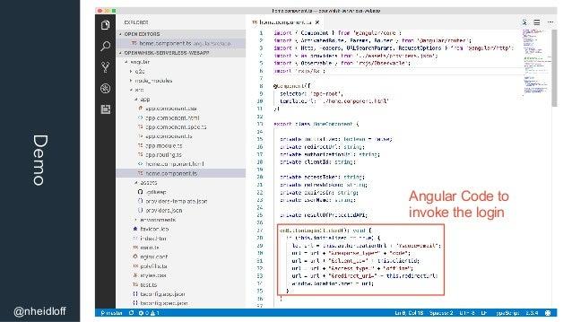 Demo @nheidloff Angular Code to invoke the login