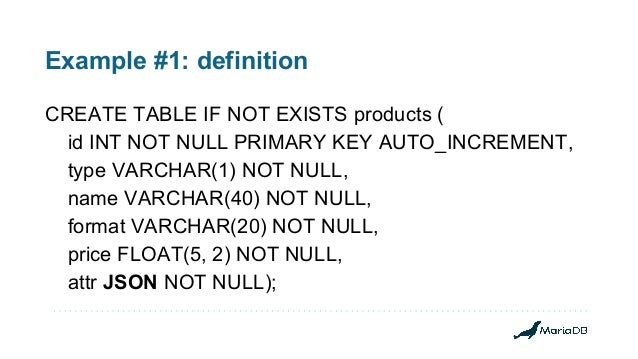 Example #1: definition CREATE TABLE IF NOT EXISTS products ( id INT NOT NULL PRIMARY KEY AUTO_INCREMENT, type VARCHAR(1) N...