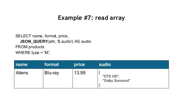Example #7: read array SELECT name, format, price, JSON_QUERY(attr, '$.audio') AS audio FROM products WHERE type = 'M'; na...