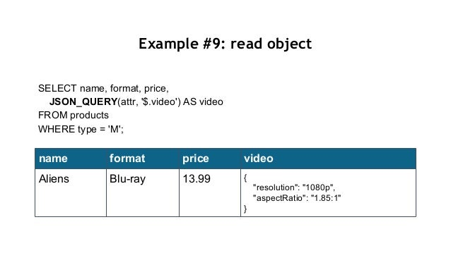 Example #9: read object SELECT name, format, price, JSON_QUERY(attr, '$.video') AS video FROM products WHERE type = 'M'; n...