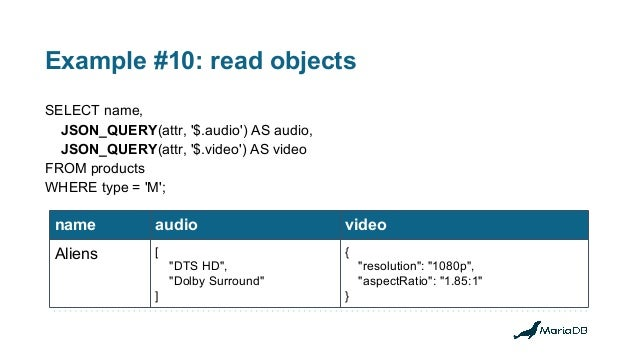 Example #10: read objects SELECT name, JSON_QUERY(attr, '$.audio') AS audio, JSON_QUERY(attr, '$.video') AS video FROM pro...