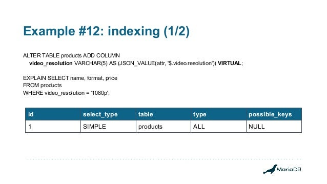 Example #12: indexing (1/2) ALTER TABLE products ADD COLUMN video_resolution VARCHAR(5) AS (JSON_VALUE(attr, '$.video.reso...