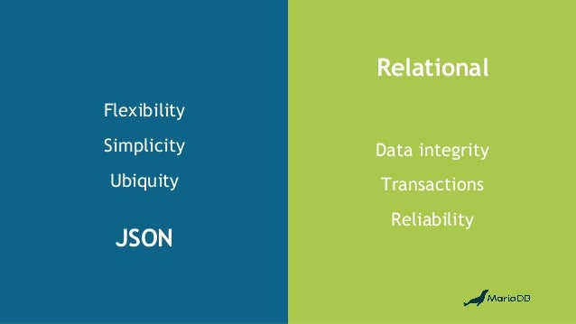 JSON Relational Flexibility Simplicity Ubiquity Data integrity Transactions Reliability
