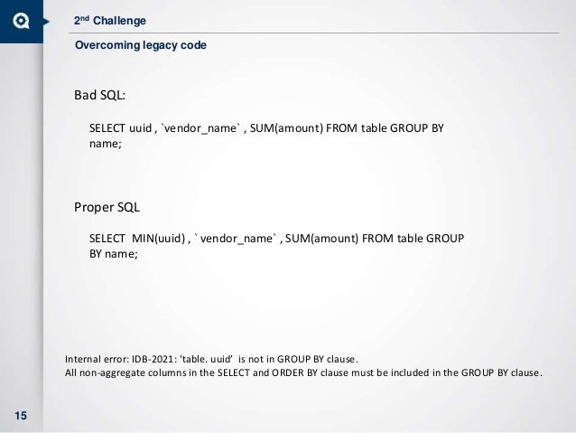 2nd Challenge 15 Bad SQL: SELECT uuid , `vendor_name` , SUM(amount) FROM table GROUP BY name; Proper SQL SELECT MIN(uuid) ...