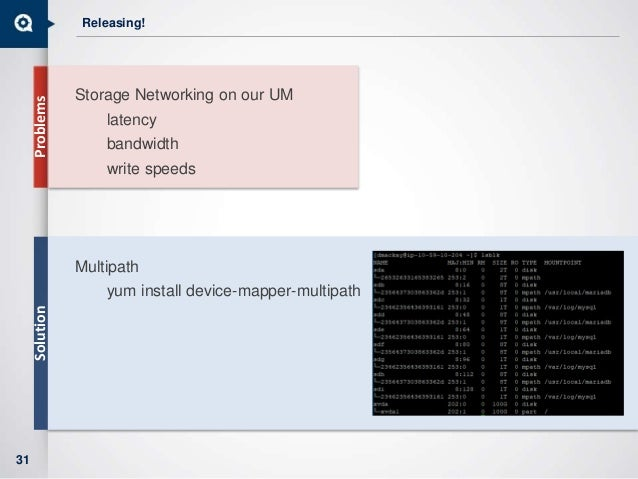 Releasing! Storage Networking on our UM latency bandwidth write speeds Multipath yum install device-mapper-multipath 31 Pr...