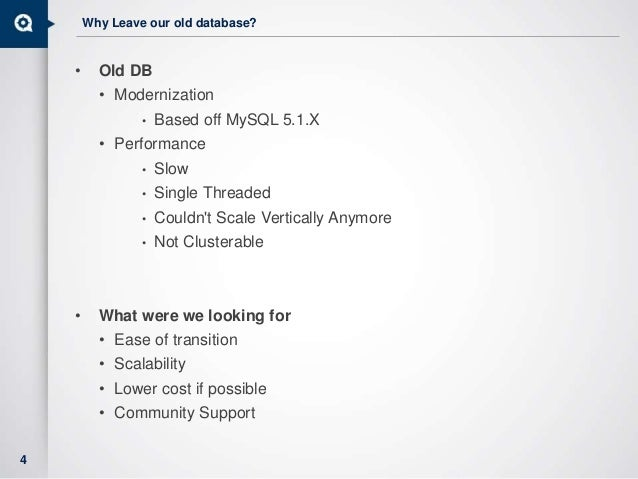 Why Leave our old database? • Old DB • Modernization • Based off MySQL 5.1.X • Performance • Slow • Single Threaded • Coul...