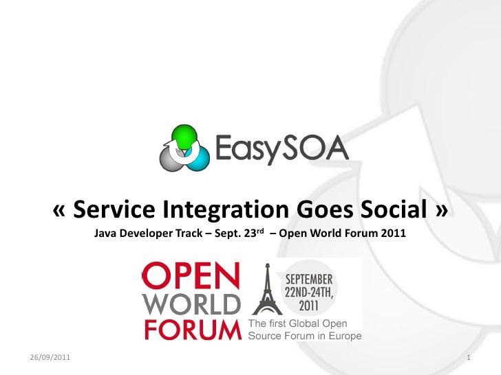 « Service Integration Goes Social »             Java Developer Track – Sept. 23rd – Open World Forum 201126/09/2011       ...
