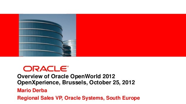 <Insert Picture Here>Overview of Oracle OpenWorld 2012OpenXperience, Brussels, October 25, 2012Mario DerbaRegional Sales V...