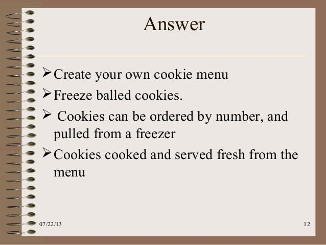 kristens cookies precase essay Free essay: kristen's cookies case what are the order winners and qualifiers for kristen's cookies kristen's cookies is conveniently located on campus and.