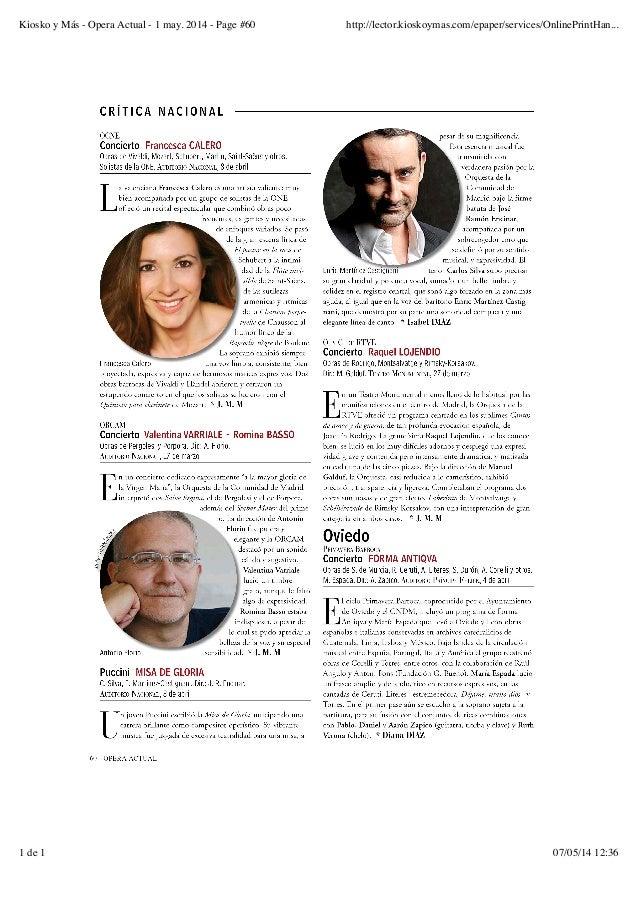 Kiosko y Más - Opera Actual - 1 may. 2014 - Page #60 http://lector.kioskoymas.com/epaper/services/OnlinePrintHan... 1 de 1...