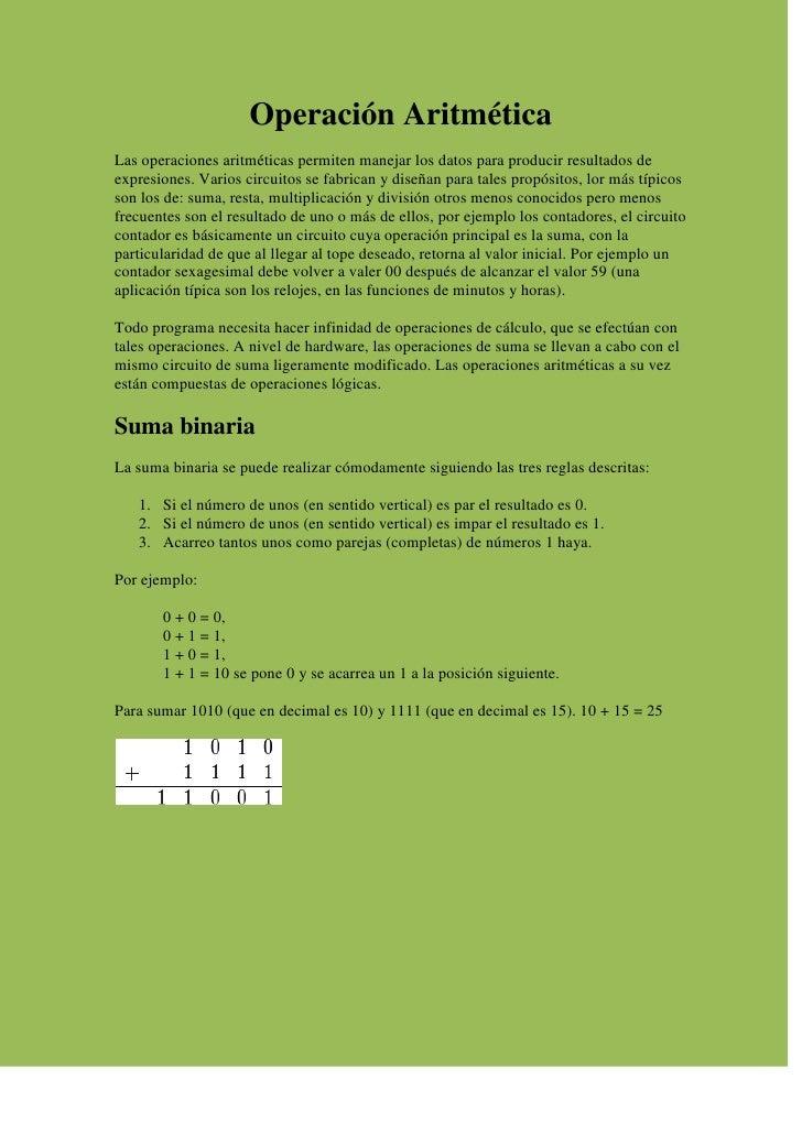 Operación Aritmética Las operaciones aritméticas permiten manejar los datos para producir resultados de expresiones. Vario...