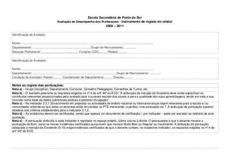 Escola Secundária de Ponte de Sor                                 Avaliação de Desempenho dos Professores – Instrumento de...