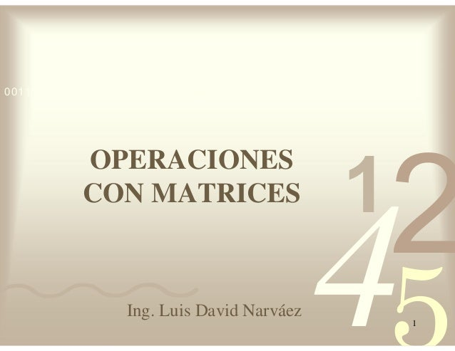 42 5 1 0011 0010 1010 1101 0001 0100 1011 OPERACIONES CON MATRICES 1 Ing. Luis David Narváez