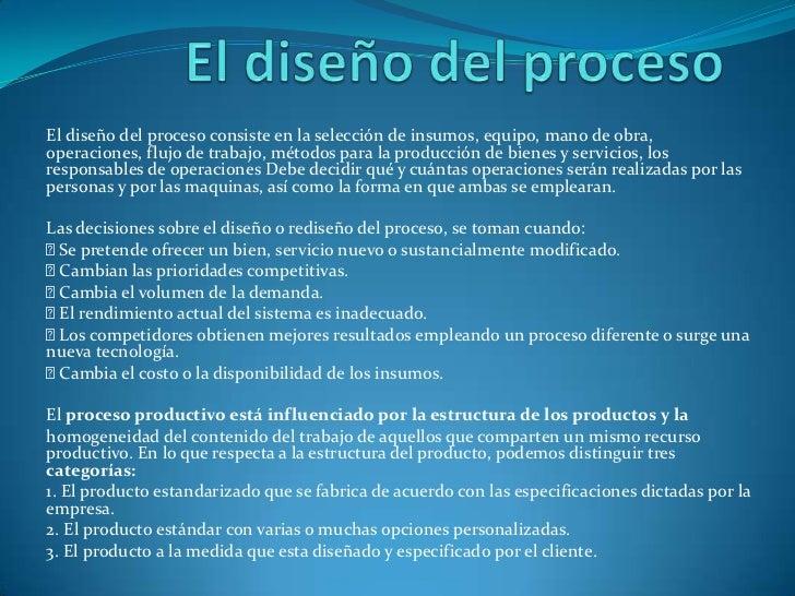 operaciones diseño de procesos