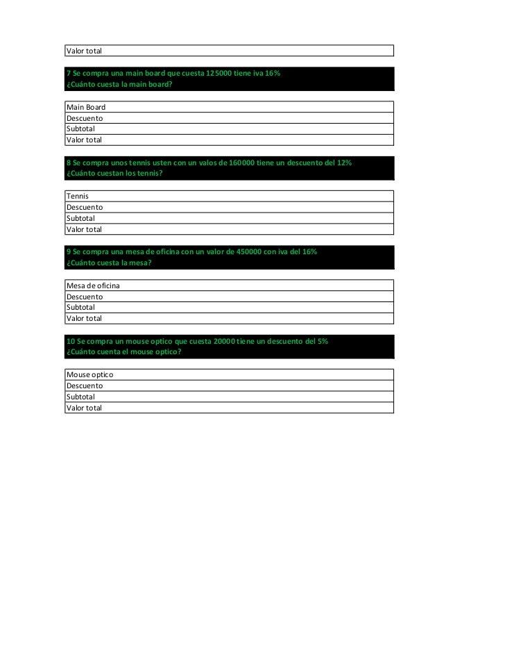 Valor total7 Se compra una main board que cuesta 125000 tiene iva 16%¿Cuánto cuesta la main board?Main BoardDescuentoSubto...