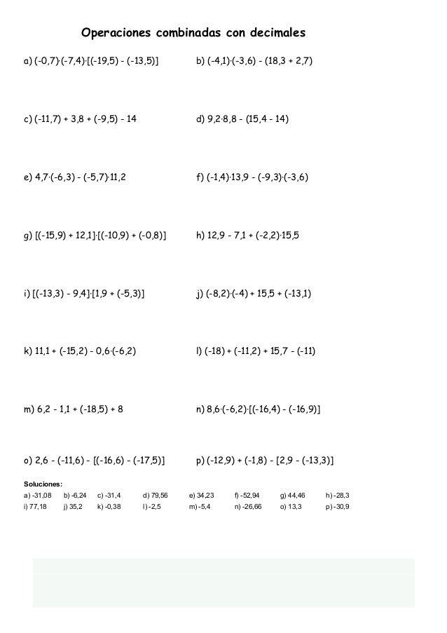 Operaciones combinadas con decimales 12