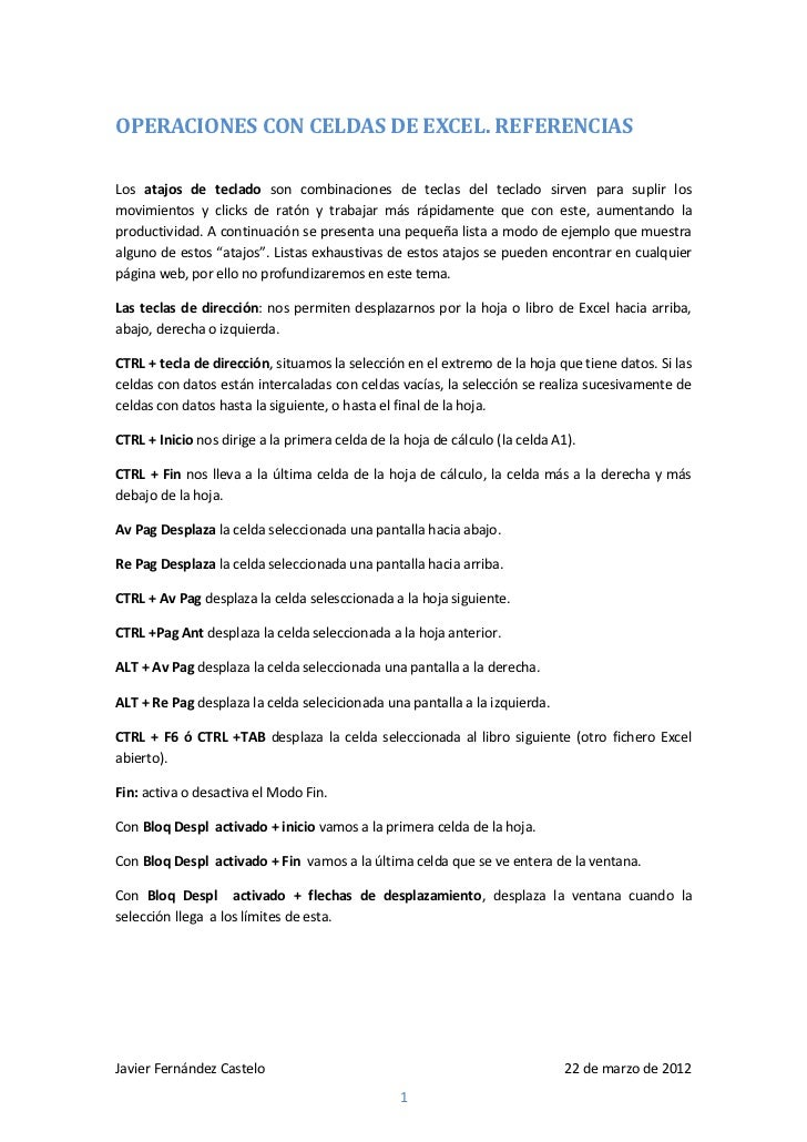 OPERACIONES CON CELDAS DE EXCEL. REFERENCIASLos atajos de teclado son combinaciones de teclas del teclado sirven para supl...