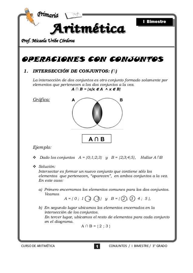 I BimestreProf. Micaela Uribe CórdovaOPERACIONES CON CONJUNTOS 1.   INTERSECCIÓN DE CONJUNTOS: (∩)      La intersección de...
