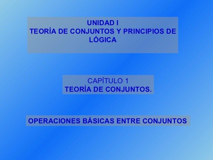 UNIDAD ITEORÍA DE CONJUNTOS Y PRINCIPIOS DE              LÓGICA             CAPÍTULO 1        TEORÍA DE CONJUNTOS.OPERACIO...