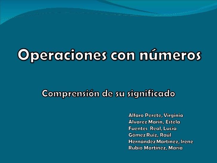 Operaciones con numeros