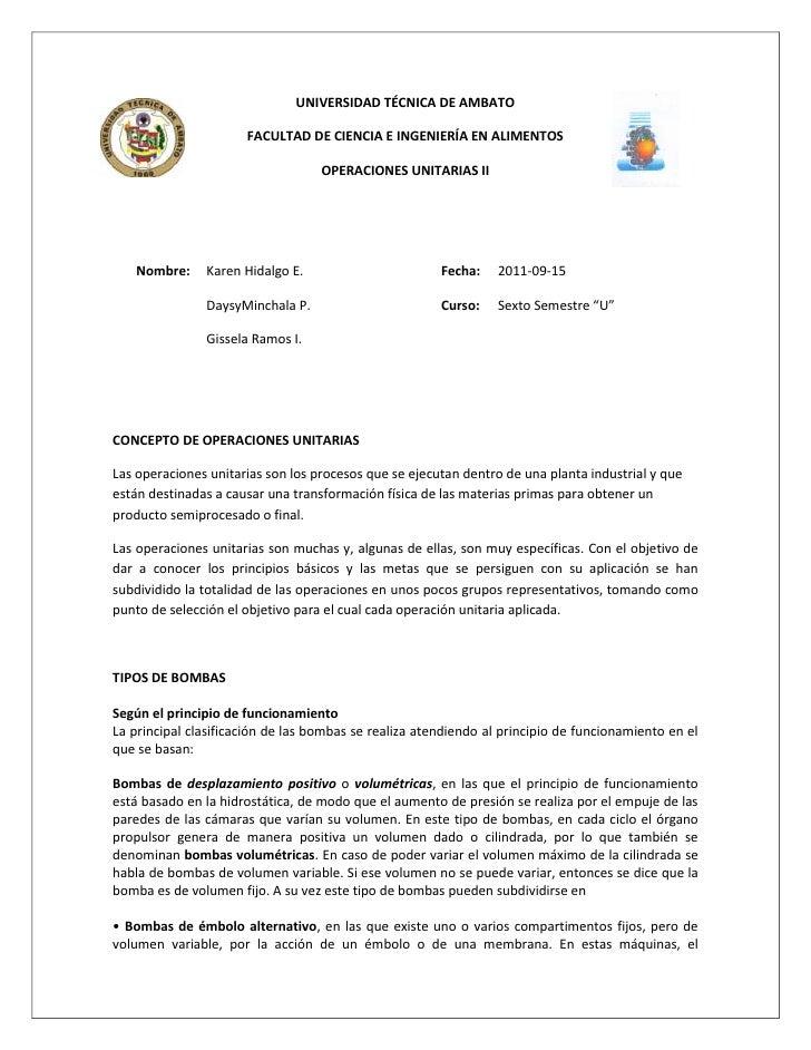 -114300476254781550-28575UNIVERSIDAD TÉCNICA DE AMBATO<br />FACULTAD DE CIENCIA E INGENIERÍA EN ALIMENTOS<br />OPERACIONES...