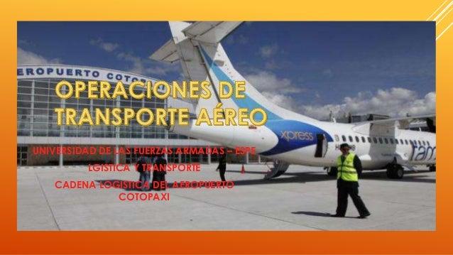 UNIVERSIDAD DE LAS FUERZAS ARMADAS – ESPE LGISTICA Y TRANSPORTE CADENA LOGISTICA DEL AEROPUERTO COTOPAXI