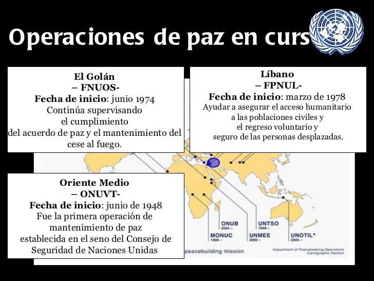 Operaciones de paz en curso El Golán  –  FNUOS- Fecha de inicio : junio 1974  Continúa supervisando  el cumplimiento  del ...
