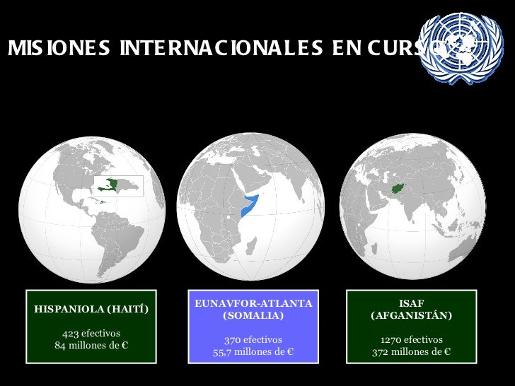 MISIONES INTERNACIONALES EN CURSO HISPANIOLA (HAITÍ) 423 efectivos 84 millones de € EUNAVFOR-ATLANTA (SOMALIA) 370 efectiv...