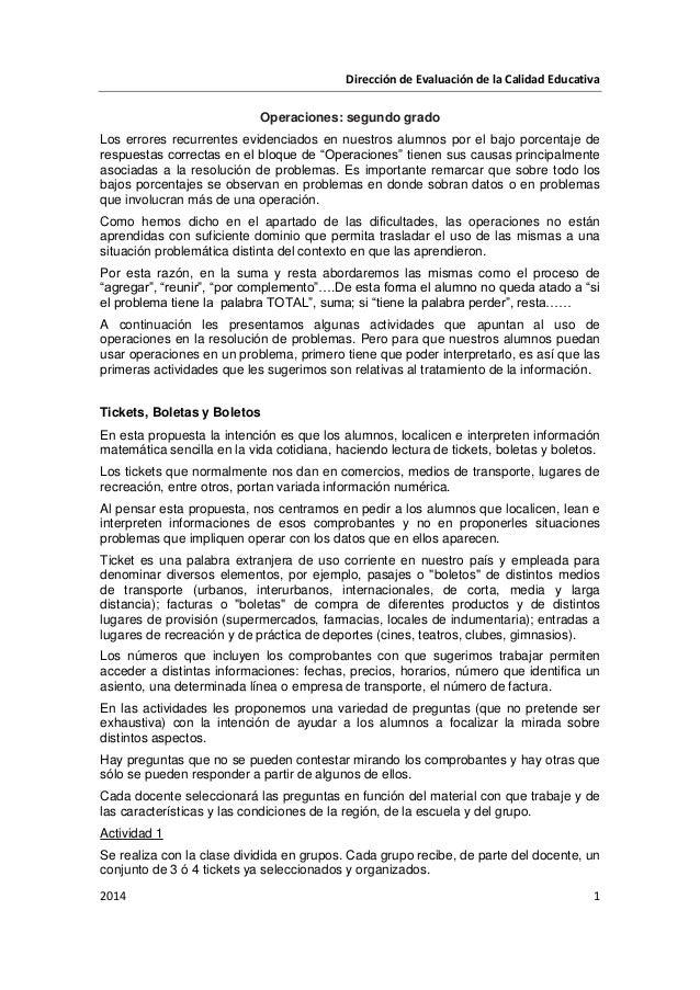 Dirección de Evaluación de la Calidad Educativa 2014 1 Operaciones: segundo grado Los errores recurrentes evidenciados en ...