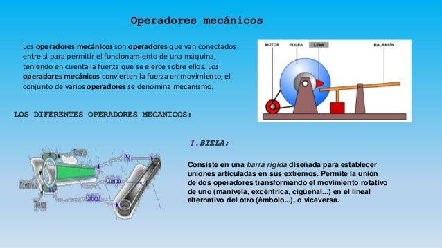 Los operadores mecánicos son operadores que van conectados entre si para permitir el funcionamiento de una máquina, tenien...