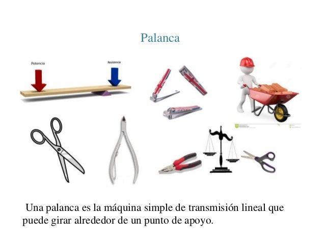 Palanca  Una palanca es la máquina simple de transmisión lineal que  puede girar alrededor de un punto de apoyo.