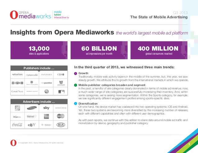 Q3 2013 The State of Mobile Advertising  Insights from Opera Mediaworks  the world's largest mobile ad platform  13,000  6...