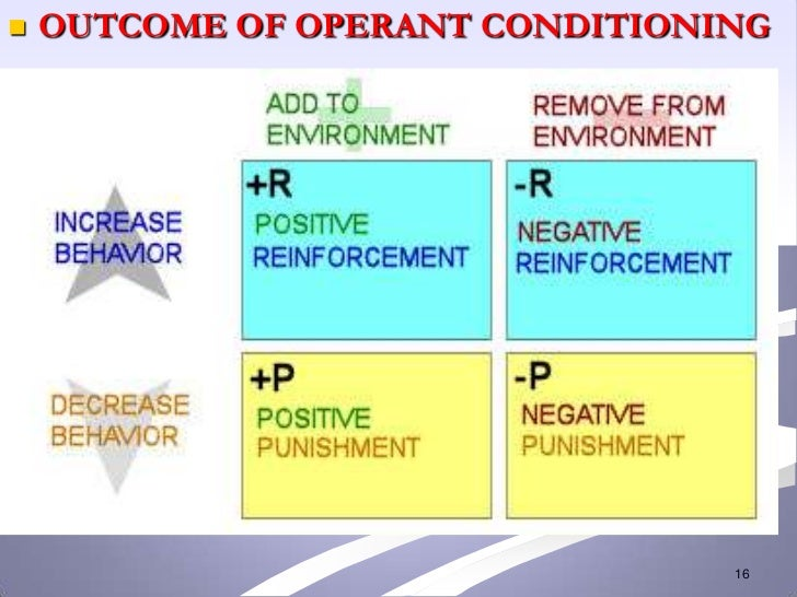    OUTCOME OF OPERANT CONDITIONING                                 16