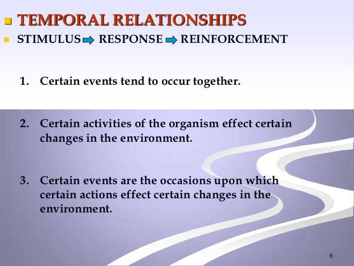    TEMPORAL RELATIONSHIPS   STIMULUS       RESPONSE       REINFORCEMENT    1. Certain events tend to occur together.    ...