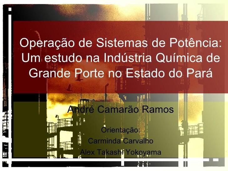 Operação de Sistemas de Potência: Um estudo na Indústria Química de Grande Porte no Estado do Pará André Camarão Ramos Ori...