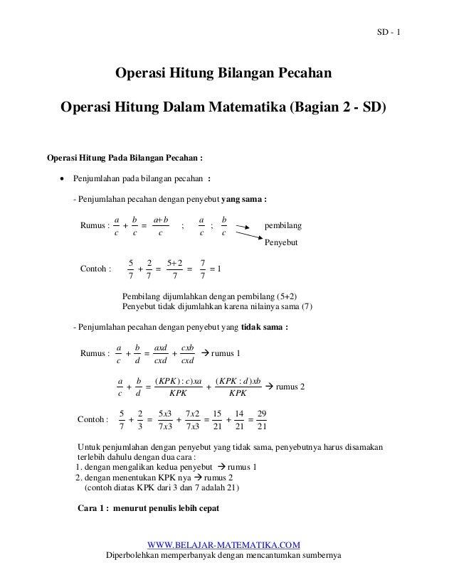 Operasi Hitung Bilangan Pecahan Operasi Hitung Dalam Matematika Bag2